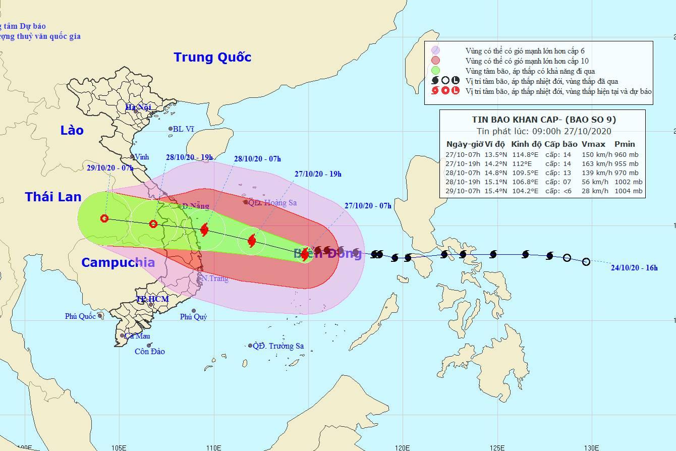 Tin bão số 9 mới nhất: Gió giật cấp 17, miền Trung sắp mưa rất to trên diện rộng