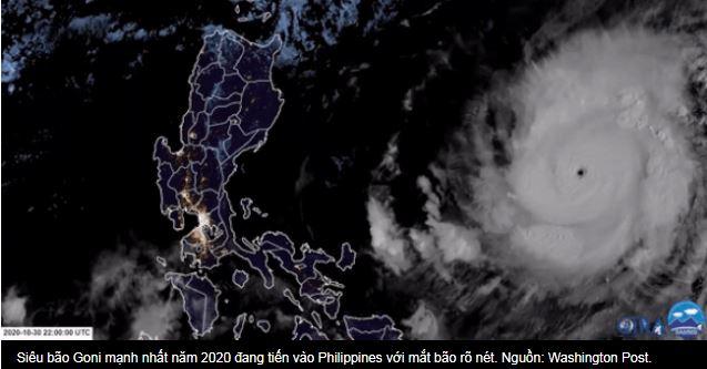 Siêu bão Goni mạnh nhất năm 2020 đang tiến vào Philippines