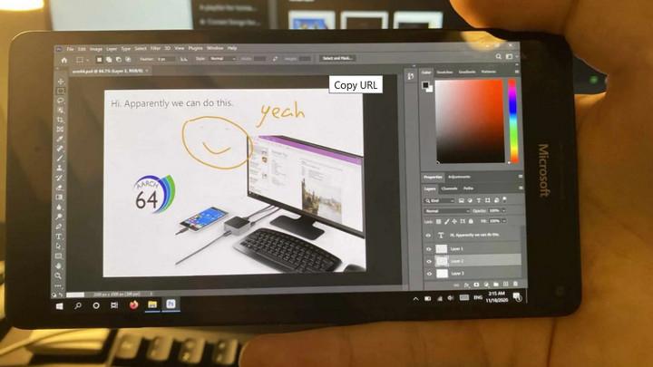 Lumia 950 XL cài Windows 10 ARM có thể chạy phiên bản Photoshop trên desktop