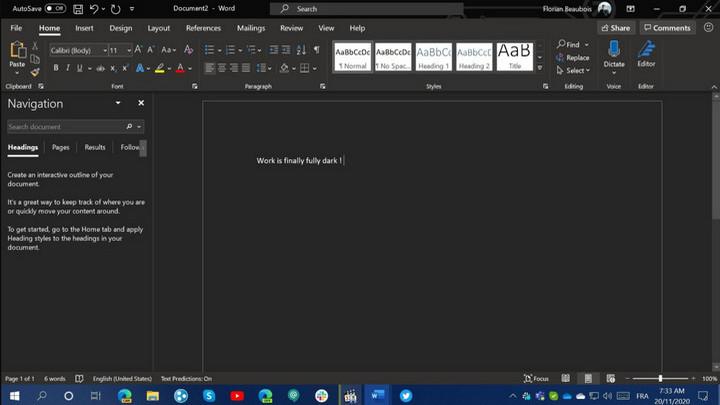 Microsoft đang bí mật thiết kế chủ đề tối hoàn toàn cho Microsoft Word