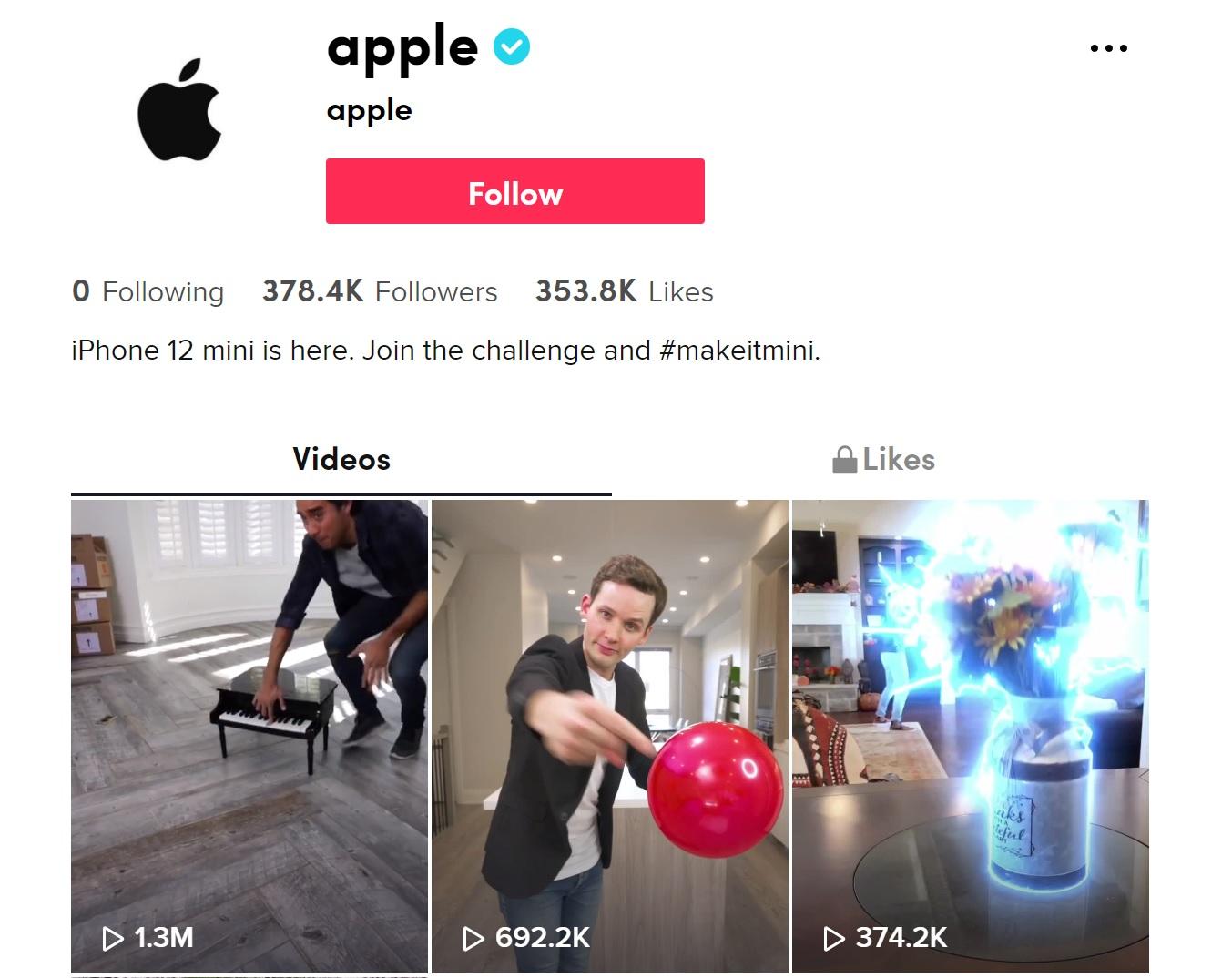 Bắt trend, Apple sử dụng TikTok để quảng cáo iPhone 12 mini