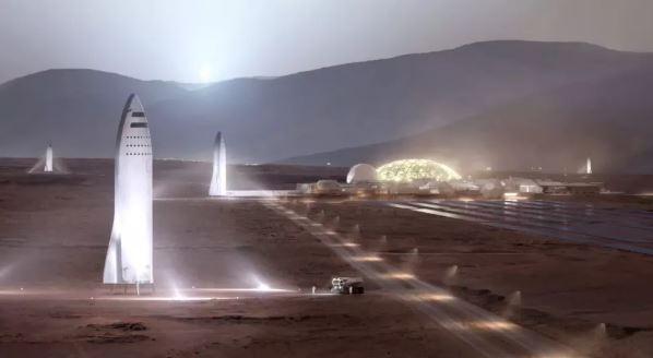Hình minh họa của nghệ sĩ về phương tiện tàu SpaceX Starship trên bề mặt sao Hỏa. (Cảnh này cho thấy những chiếc Starships được làm bằng vật liệu tổng hợp carbon; SpaceX đã quyết định chế tạo các phương tiện này từ thép không gỉ.)