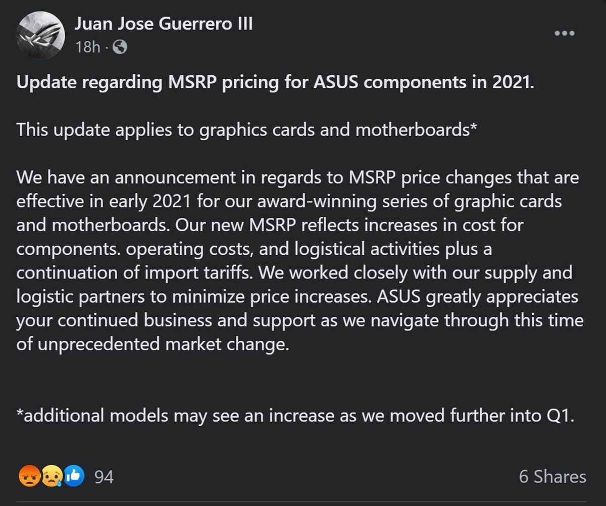 Asus: Card đồ họa sẽ có giá đắt đỏ hơn trong tương lai gần