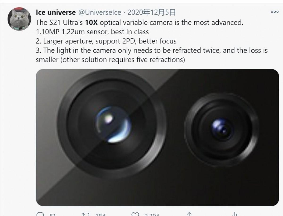 Lộ diện thêm chi tiết camera zoom trên amsung Galaxy S21 Ultra