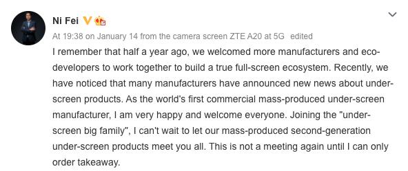 ZTE sẽ sớm tung ra chiếc smartphone sử dụng camera ẩn dưới màn hình thế hệ thứ 2