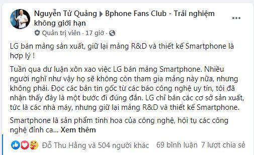 CEO Bkav: Nếu LG bỏ smartphone là họ tự hủy hoại năng lực công nghệ của mình