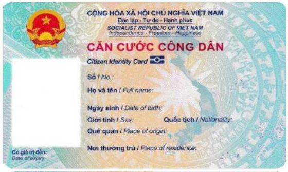 Thẻ Căn cước công dân gắn chip, song ngữ Việt - Anh