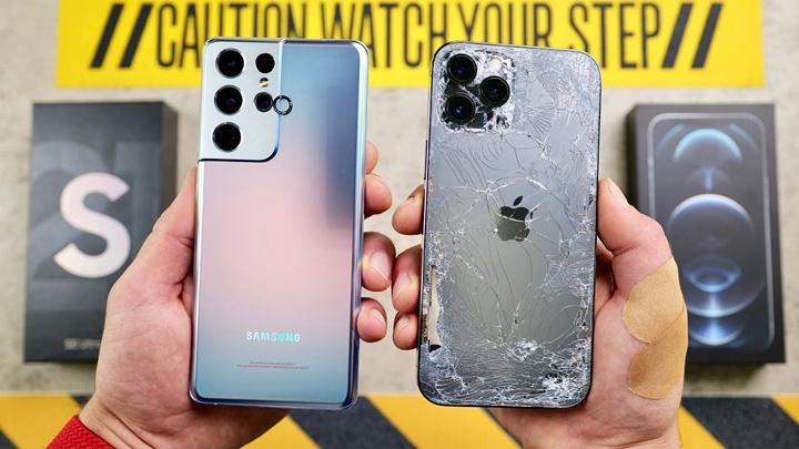 Galaxy S21 Ultra đối mặt với iPhone 12 Pro Max trong thử nghiệm thả rơi
