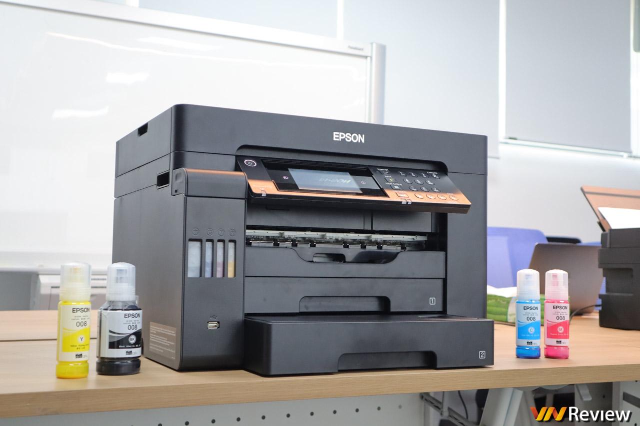 """Trải nghiệm máy in màu Epson EcoTank L15150: khay giấy tự động, thay mực trong """"vài nốt nhạc"""""""