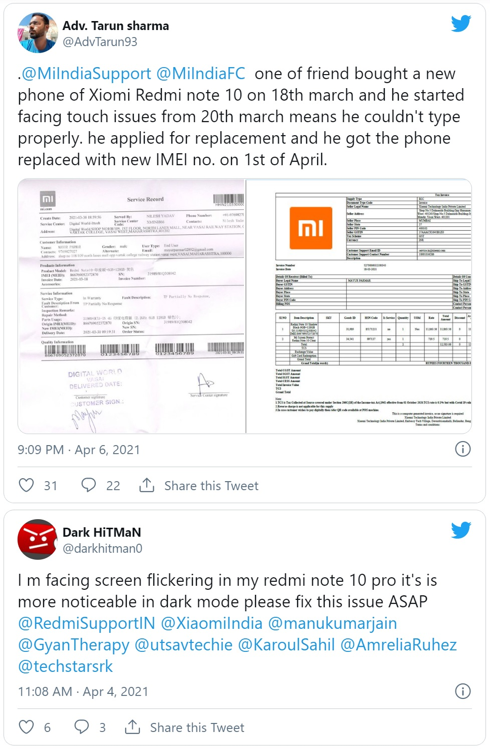 Người dùng phàn nàn Redmi Note 10 gặp lỗi màn hình không phản hồi