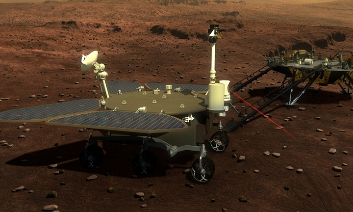 Trung Quốc công bố những bức ảnh đầu tiên của tàu thám hiểm Zhurong trên sao Hỏa