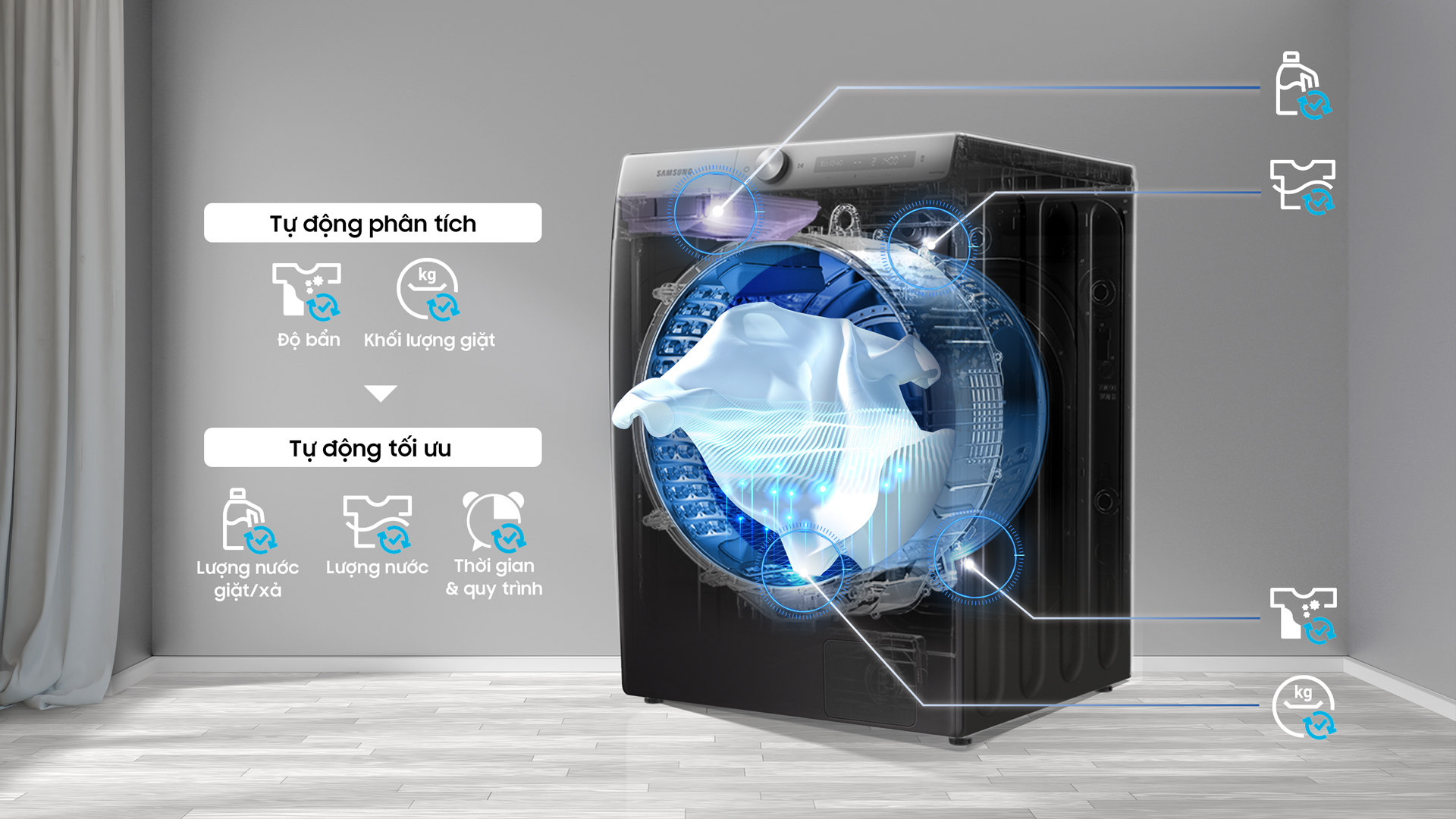 công nghệ Ai giúp máy giặt Samsung có thể tự động phẩm tích và tối ưu
