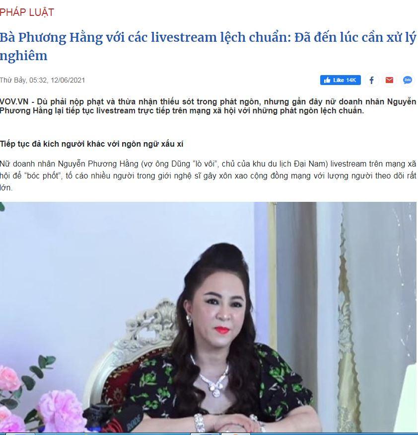 Báo điện tử VOV bị Ddos liên quan đến các bài viết về bà Nguyễn Phương Hằng?