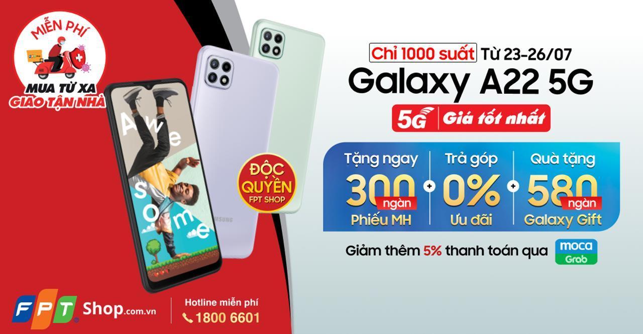 FPT Shop bán độc quyền Galaxy A22 5G, kèm nhiều quà tặng