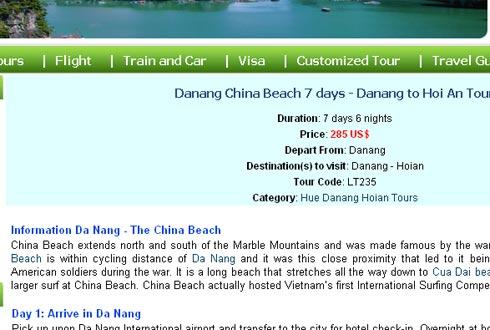 Vẫn còn website ngoan cố gọi biển Đà Nẵng là China Beach