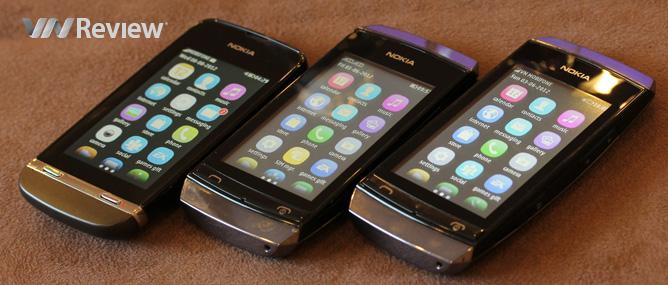 Cận cảnh bộ ba điện thoại Nokia Asha cảm ứng giá rẻ
