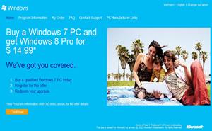 Đã có thể đăng ký nâng cấp Windows 8