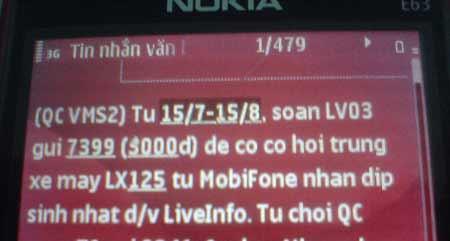 """LiveInfo thả bom tin """"quấy nhiễu"""" người dùng mạng MobiFone"""