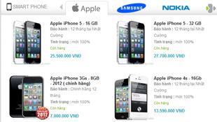 Giá iPhone 5 ngày 25/9: tăng nhẹ