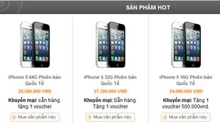 Giá iPhone 5 ngày 26/9: giảm từ 0,5- 1,7 triệu đồng, hàng về nhiều