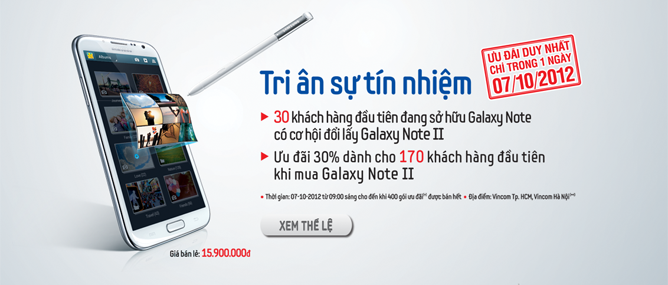 Samsung đổi miễn phí 60 chiếc Galaxy Note 2 trong ngày 7/10