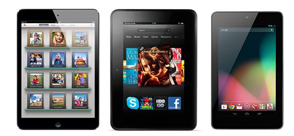 So cấu hình iPad Mini với Kindle Fire HD và Google Nexus 7
