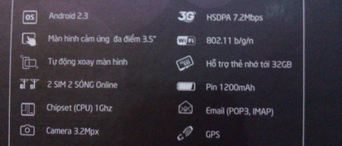 Cấu hình Viettel V8403 - smartphone giá rẻ 2 SIM