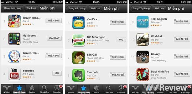 Xu hướng app Việt trên iTunes