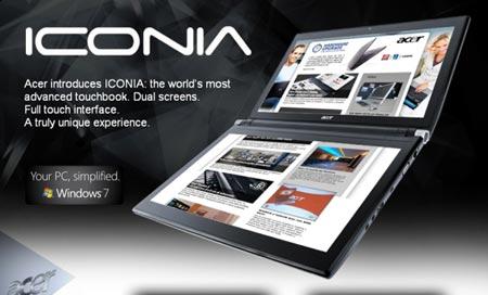 Acer Iconia Touchbook, laptop hai màn hình chính thức được bán ra