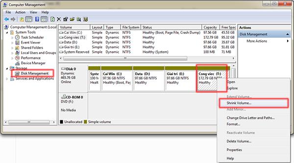 Hướng dẫn chia và gộp ổ trong Windows 7 mà không mất dữ liệu