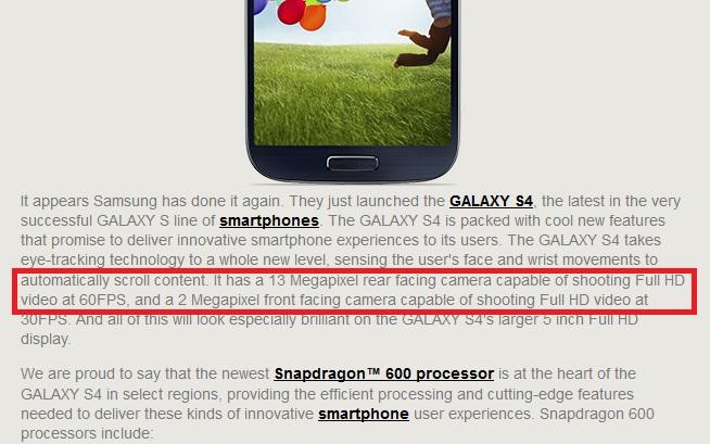 Qualcomm: Galaxy S4 có thể quay video Full HD ở tốc độ 60 fps