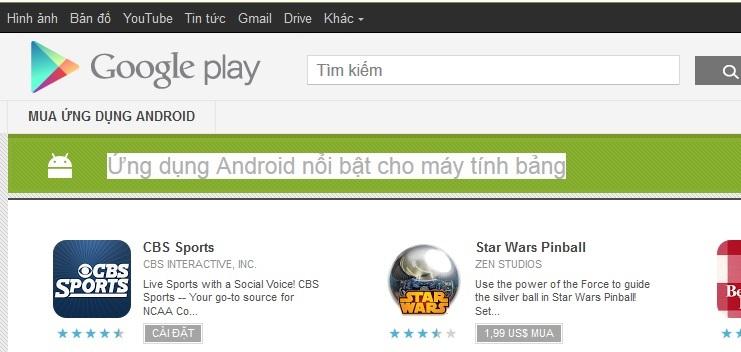"""Google giới thiệu mục """"Ứng dụng Android nổi bật cho máy tính bảng"""" trên Google Play"""