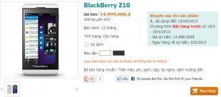 ViettelStore nhận đặt hàng BlackBerry Z10 chính hãng giá 15 triệu, có hàng ngày 5/5