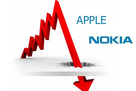 Thị trường smartphone: Apple sụt giảm, Nokia trượt dài