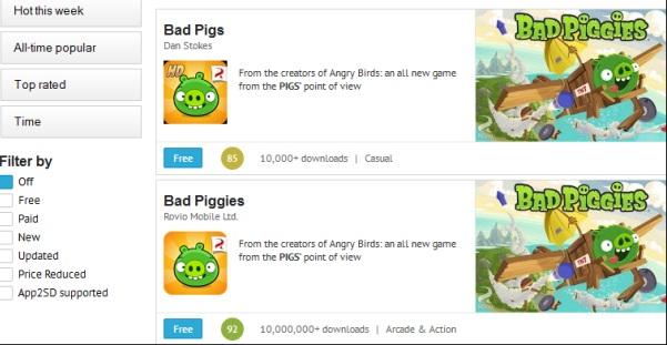 """Google để mã độc """"nhái"""" Bad Piggies lọt lên Google Play"""