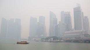 Ảnh quốc đảo Singapore chìm trong khói bụi