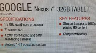 Rò rỉ thông số Nexus 7 II: Android 4.3 và sạc không dây