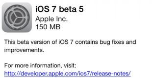Apple bất ngờ tung ra bản iOS 7 beta 5