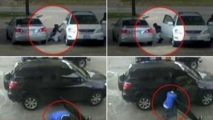 """Video """"đạo chích"""" xe ô tô đang đỗ ở trạm xăng"""
