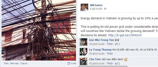 Facebook của Bill Gates tràn ngập comment từ Việt Nam