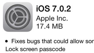 Apple ra bản cập nhật iOS 7.0.2 sửa lỗi màn hình khóa