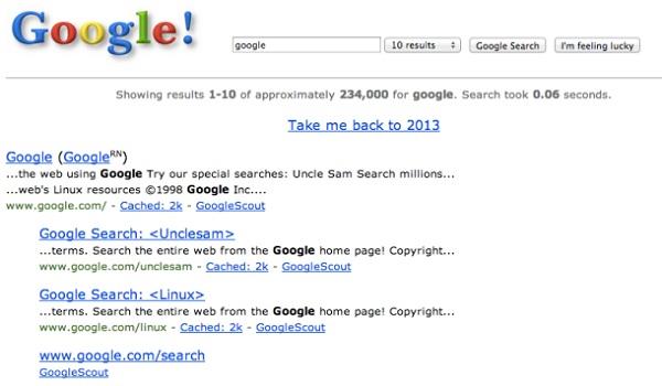 Trở về với giao diện thuở sơ khai của Google
