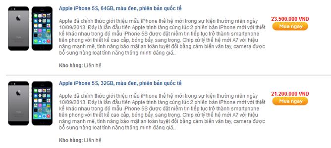 """Giảm 3 triệu đồng, iPhone 5s """"đắt như tôm tươi"""""""
