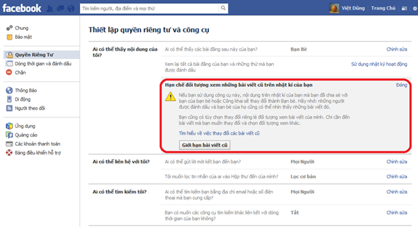 Facebook limit past posts