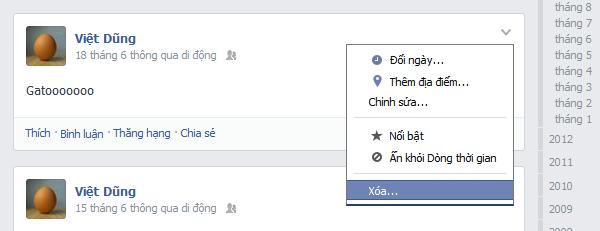 Facebook delete posts
