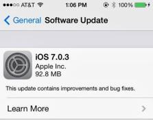 Apple lặng lẽ ra bản cập nhật iOS 7.0.3