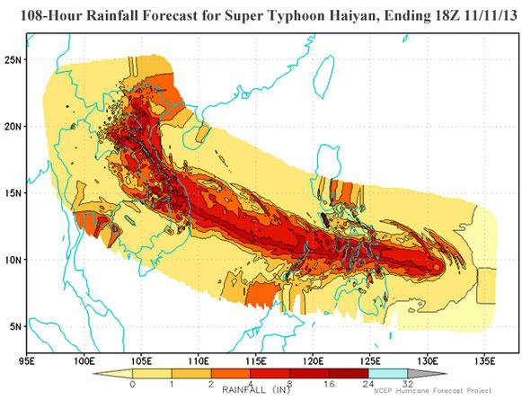 Dự báo lượng mưa kèm theo bão Hải Diêm