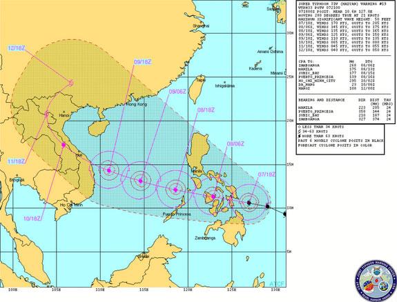 Dự báo đường đi của Hải Diêm khi đổ bộ vào Việt Nam.