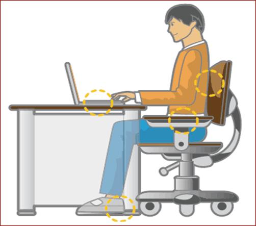 Ngồi đúng tư thế, giữ khoảng cách hợp lý giúp thoải mái khi làm việc