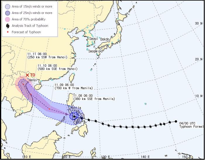 Dự báo bão Haiyan của Hàn Quốc trong hai ngày tới